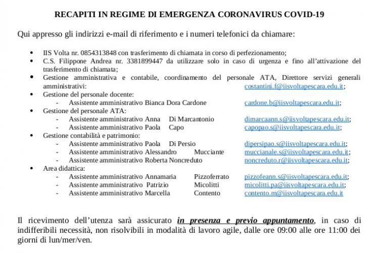 RECAPITI IN REGIME DI EMERGENZA CORONAVIRUS COVID