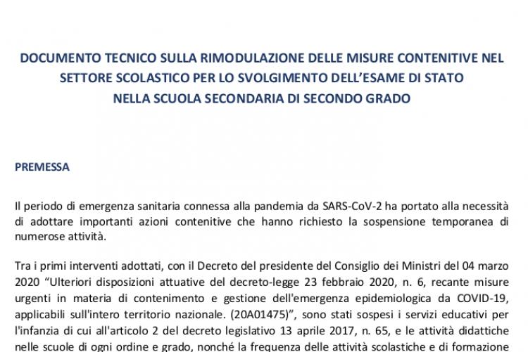 DOCUMENTO TECNICO MISURE CONTENITIVE SVOLGIMENTO ESAME DI STATO
